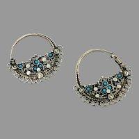 Hoop Earrings, Old Silver Earrings, Afghan Earrings, Vintage Earrings, Turquoise, Filagree, Middle Eastern, Ornate, Patina, Gypsy,Pakistan