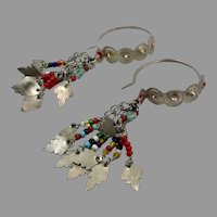 Hoop Earrings, Old Silver, Vintage Earrings, Charms, Middle Eastern, Dangles, Afghan Earrings, Pakistan, Pierced