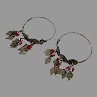 Afghan Earrings, Old Silver, Big Hoops, Vintage Earrings, Patina, Red, Kuchi, Old