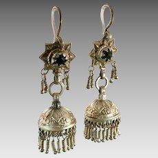 """Jhumka Earrings, Old Silver, Kashmir Earrings, Vintage Earrings, Blue, Bell Earrings, Pakistan Jewelry, 2 1/2"""" Long, Pierced, Dangle"""