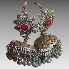 Jhumka Earrings, Rare, Old Silver, Kashmir, Vintage Earrings, Red, Bell Earrings, Middle Eastern, Afghan, Pakistan Jewelry, Long, Pierced