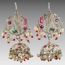 Jhumka Earrings, Old Silver, Kashmir, Vintage Earrings, Red, Bell Earrings, Middle Eastern, Afghan, Pakistan Jewelry, Long, Pierced, Dangle