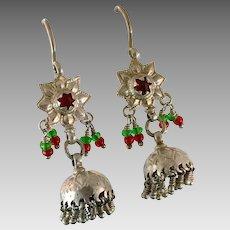 Jhumka Earrings, Old Silver, Kashmir Earrings, Vintage Earrings, Red, Green, Bell Earrings, Pakistan Jewelry, Pierced Earrings, Dangles
