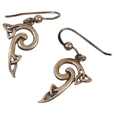 Celtic Knot Earrings, Sterling Silver, Vintage Earrings, PSCL, Peter Stone, Dangle Pierced, Irish Jewelry