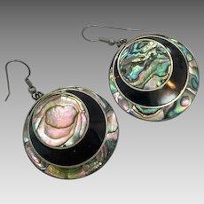 Abalone Earrings, Shell Earrings, Sterling Silver, Vintage Earring, Mexico, Pierced Dangle, Black, Big Long, Boho Statement, Beach