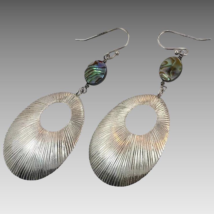 Abalone Earrings S Sterling Silver Pierced Modern Contemporary Boho