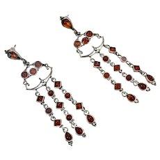 Amber Earrings, Sterling Silver, Long Dangles, Baltic Amber, Vintage Earrings, Pierced, Honey Amber