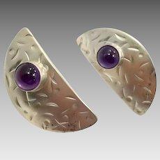 Amethyst Earrings, Sterling Silver, Modern, Vintage Earrings, Handcrafted, Karen Joyce, Artisan, Signed, Purple Stone, Contemporary