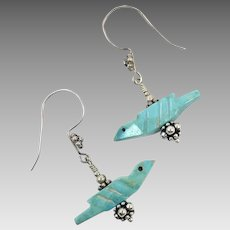 Bird Earrings, Carved Fetish, Sterling Silver, Vintage Earrings, Pierced Dangle, Turquoise Birds, Native American, Southwestern