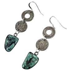 Turquoise Earrings, Sterling Silver, Vintage Earrings, Modern, Unique, Bohemian, Contemporary