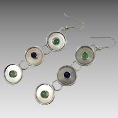 Modern Earrings, Sterling Silver, Green Quartz, Purple Amethyst, Vintage Earrings, Pierced, Minimalist, Dangle, Big Statement, Geometric