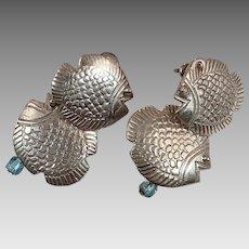Fish Earring, Sterling Silver, Vintage Earrings, Cute, Unique, Unusual, Pierced Earrings, Tropical Jewelry, Earring Posts, Blue Glass Beads