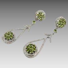 Green Earrings, Sterling Silver, Vintage Earrings, Faux Peridot, Crystal, Pierced, Contemporary, Elegant Evening, Vintage Jewelry, Big Large