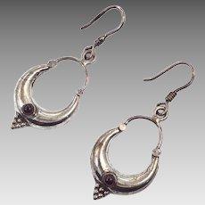 """Garnet Earrings, Sterling Silver, Vintage Earrings, 2"""" Long, Pierced Dangle, Red Stone, Boho Jewelry, Bohemian, Ethnic"""