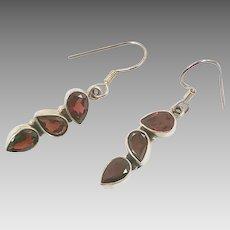 Garnet Earrings, Sterling Silver, Vintage Earrings, Red Stone, Pierced Earrings, January Birthstone, Dangle Earrings, Boho, Garnet Jewelry