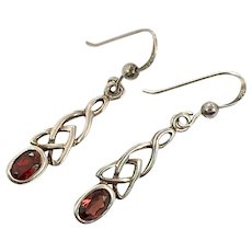 Red Garnet, Celtic Knots, Vintage Earring, Sterling Silver, Pierced Dangle, Irish Jewelry, Knotted Silver, Unique Unusual