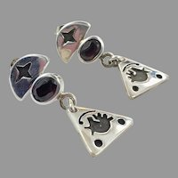 Garnet Earrings, Sterling Silver, Vintage Earrings, Abstract Dogs, Pierced Dangle, Unique, Modern, Contemporary, Artisan, Handcrafted