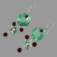 Star Earrings, Green, Unique, Sterling Silver, Enameled, Vintage Earrings, Modern, Contemporary, Long Dangle, Pierced, Red