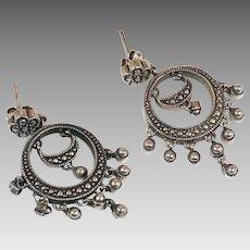 Sterling Earring, Dangle Earrings, Vintage Earrings, Pierced, Boho Jewelry, Bohemian, Ethnic, Tribal