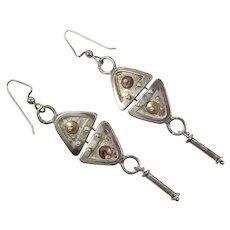 Industrial Earrings, Sterling Silver, Mixed Metal, Brass, Copper, Vintage Earrings, Pierced Dangle, Steampunk, Studio Quality, Artisan