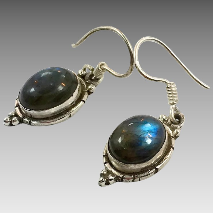 Labradorite Earrings Sterling Silver Pierced Green Blue Stones Dangle