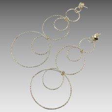 Sterling Earrings, Vintage Earrings, Sterling Silver, Modern, Circles, Diamond Cut, Contemporary, Long, Pierced, Dangle, Minimalist, Posts