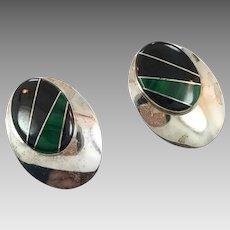 Black Onyx Earrings, Malachite Earrings, Sterling Silver, Zuni, Native American,Vintage Earrings, Inlaid Stone, Big Statement, Large, Huge