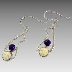 Goddess Earrings, Sterling Silver, Vintage Earrings, Amethyst Stone, Full Moon, Carved Bone, Boho Statement, Pierced Dangle, Bali