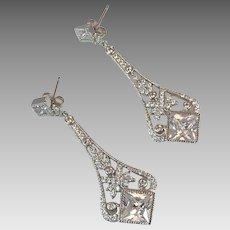 Rhinestone Earrings, Sterling Silver, Vintage Jewelry, Long, Evening, Prom Earrings