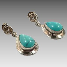 Turquoise Earrings, Sterling Silver, Vintage Earrings, Dangle, Pierced Post Dangle, Teardrops, Southwestern, Sterling Jewelry, Boho Bohemian