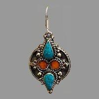 Nepal Earrings, Turquoise, Tibetan, Red Coral, Vintage Earrings, Inlaid Inlay, Tibet Silver