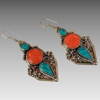 Turquoise Earrings, Tibetan Nepal, Red Coral, Vintage Earrings, Inlaid Inlay, Tibet Silver