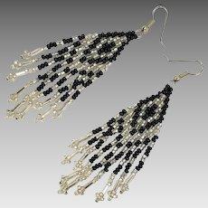 "Fringed Earrings, 3"" Long, Black, Silver, Seed Beaded, Vintage Earrings, Southwestern, Boho, Woven, Festival, Pierced, Large Big"