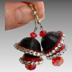 "Big Earrings, Bell Shaped, Jhumka Earrings, Vintage Earrings, Black, Red, Lightweight, 2"" Long, Funky, Pierced, Rhinestones"