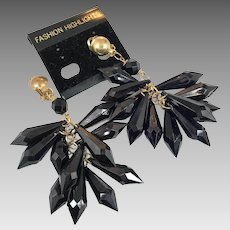 Black Earrings, 1980s, NOS, Vintage Earrings, Clips, Lucite, Plastic, Massive, Long
