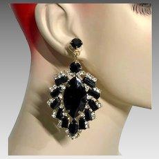 Black Earrings, Rhinestone Earrings, Vintage Earrings, Long, Pierced, Prong Set, Gothic Glam, Evening, Big Statement