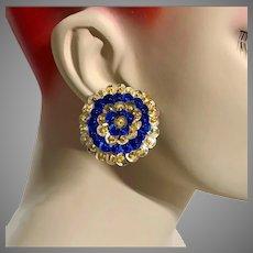 Sequin Earrings, Blue, Gold, Vintage Earrings, 1990s 90s, NOS, Pierced Posts