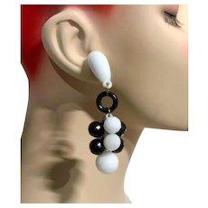 Black White Earrings, Vintage Earrings, 1980s, 80s, Pierced, Retro, NOS, Plastic, Huge, Statement Earrings