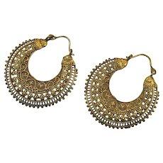 Large Hoops, India Brass, Boho, Vintage Pierced, Ethnic, Tribal, Festival Jewelry