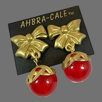 Red Earrings, Gold, NOS, Clips, Vintage Earrings, Lucite, 1980s, 80s, New Old Stock, Massive, Oversized, Huge, Big Statement
