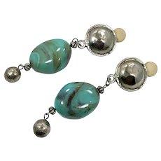 Art Glass Earrings, Boho, Aqua Turquoise, Silver, Vintage Earrings, Big, Oversized, Dangle Earrings, Clips