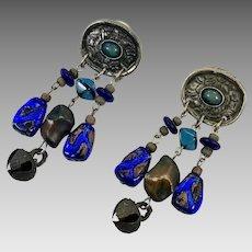 Blue Earrings, Boho Statement, Vintage Earrings, Cobalt Blue, Big, Huge, Rustic, Unique, Mixed Metal, Gypsy Earrings, 1980s, Pierced, Dangle