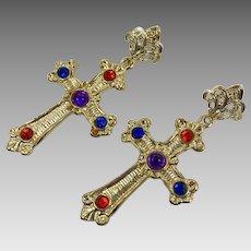 Cross Earrings, Gold Earrings, Vintage Earrings, NOS, Jewels, Massive, Huge