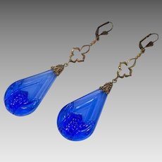 Art Deco Earrings, Czech Glass, Cobalt Blue, Brass, Vintage Earrings, 1930s, Long Beaded, Glass Beads, Big, Huge, Bohemian, Statement