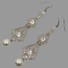 "Silver Earrings, Rhinestone, Pearls, Vintage Earrings, 4"" Long, Filagree, Large, Dangle Earrings"