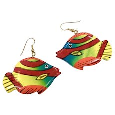 Fish Earrings, Kitschy, Huge, Vintage Earrings, NOS, 1980s, 80s, Painted Wood, Tropical, Dangle, Pierced, Retro, Big Statement, Fish Jewelry