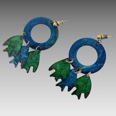 Fish Earrings, Blue, Green, Vintage Earrings, 1980s, 80s, Big Earrings, Massive, Large, Lightweight, Statement Earrings, Fun, Kitschy