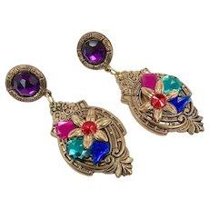 Massive Earrings, Jewel Tones, Vintage Earrings, 1980s, 80s, NOS, Rhinestone, Gold, Red, Green, Blue, Purple, Pierced, Big, Large, Huge
