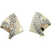 Rhinestone Earrings, Huge Statement, Vintage Earrings, Enameled, AB Rhinestones, Gold, 1980s, 80s, Mod, Modern, Large Huge, Pierced, Retro