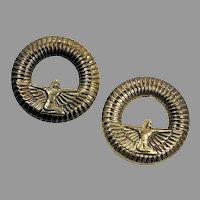 Goddess Earrings, Isis, Egyptian, Vintage Earrings, NOS, 1980s, 80s, Gold, Bronze, Hoop Earrings, Big